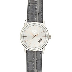 Infinite - Mens grey croc-effect analogue watch