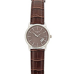 Infinite - Mens brown croc-effect analogue watch