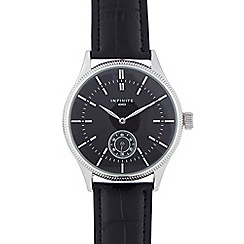 Infinite - Gents black mock croc round watch