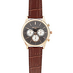 Infinite - Mens brown leather mock chronograph watch