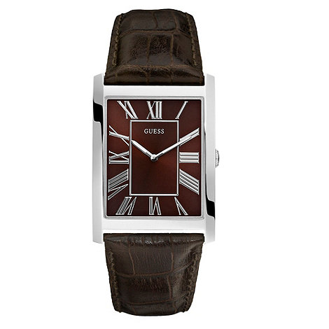 Guess - Men+s brown slim square case watch