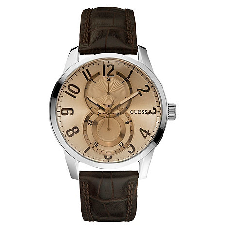 Guess - Men+s bronze round multi dial watch