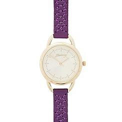 Mantaray - Ladies purple cross stitch analogue watch