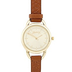 Mantaray - Ladies tan cross stitch analogue watch