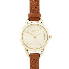 Mantaray - Ladies tan cross stitch analogue watch