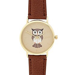 Mantaray - Ladies brown owl dial watch