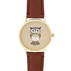 Mantaray - Ladies brown owl dial watch