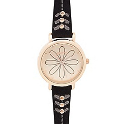 Mantaray - Ladies black petal dial watch