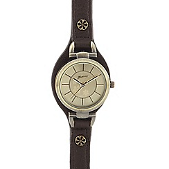 Mantaray - Ladies brown leather-effect watch
