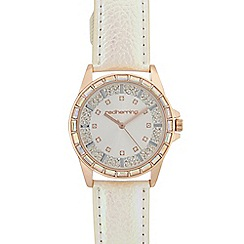 Red Herring - Ladies white gem Baguette Bezel watch