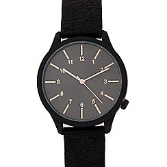 Red Herring - Mens black grained strap watch