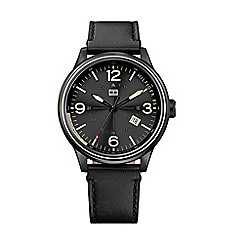 Tommy Hilfiger - Men's black dial strap watch