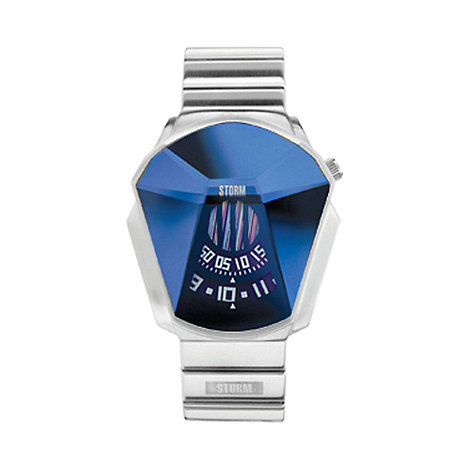 STORM London - Men+s silver faceted glass dial bracelet watch darth lzr blue