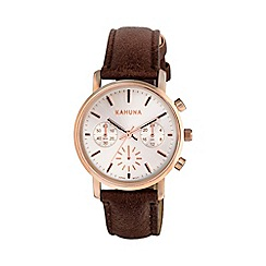 Kahuna - Ladies rose gold chronograph brown strap watch