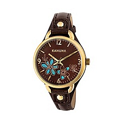 Kahuna - Ladies brown cut through dial strap watch