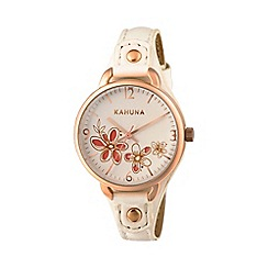 Kahuna - Ladies white cut through dial strap watch