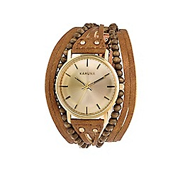 Kahuna - Ladies tan multi thong vintage case watch