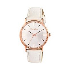 Kahuna - Ladies rose gold vintage case white strap watch