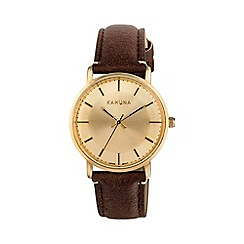 Kahuna - Ladies pale gold vintage case brown strap watch