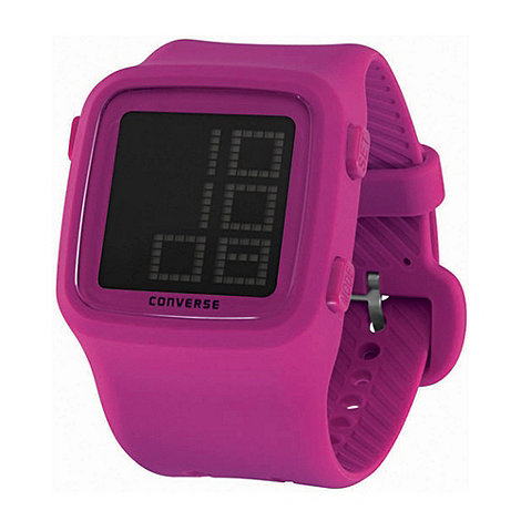 Converse - Unisex pink square face silicone strap watch