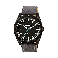 Kahuna - Gents grey strap black case watch