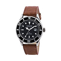 Kahuna - Gents tan strap silver case watch