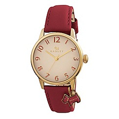 Radley - Ladies  watch with gold plated case and red genuine leather strap