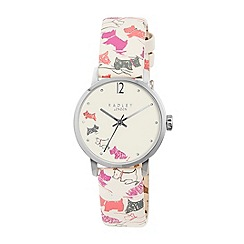 Radley - Ladies watch with stainless steel case and cream printed genuine leather strap