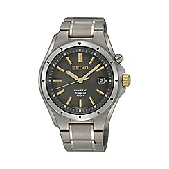 Seiko - Men's two-tone titanium grey dial bracelet watch