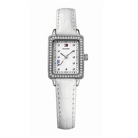 Tommy Hilfiger - Ladies stainless steel rectangular dial white strap watch
