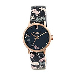 Radley - Ladies watch with rose gold plated case and midnight printed genuine leather strap