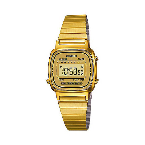 Casio - Unisex gold dial lcd watch