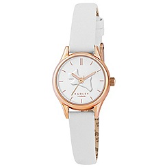 Radley - Ladies watch with rose gold plated case and white genuine leather strap