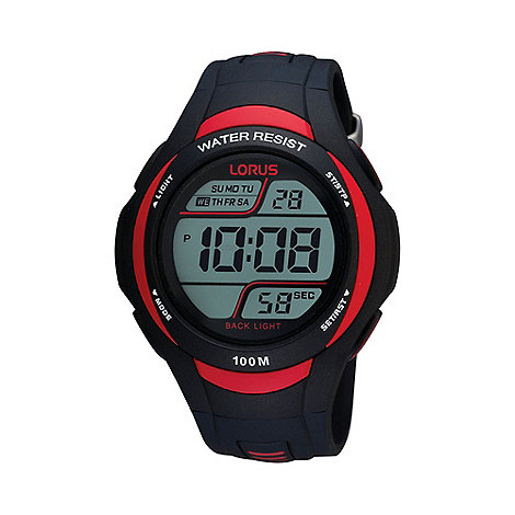 Lorus - Men+s black and red digital watch
