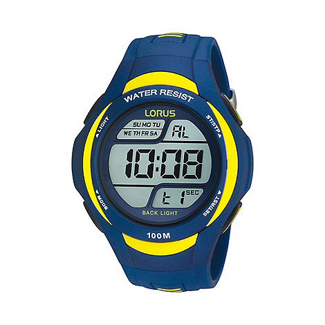 Lorus - Men+s blue and yellow digital watch