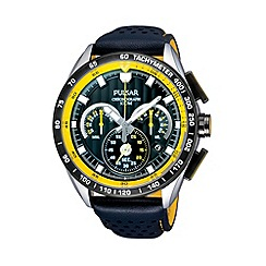 Pulsar - Men's stainless steel chronograph black strap watch