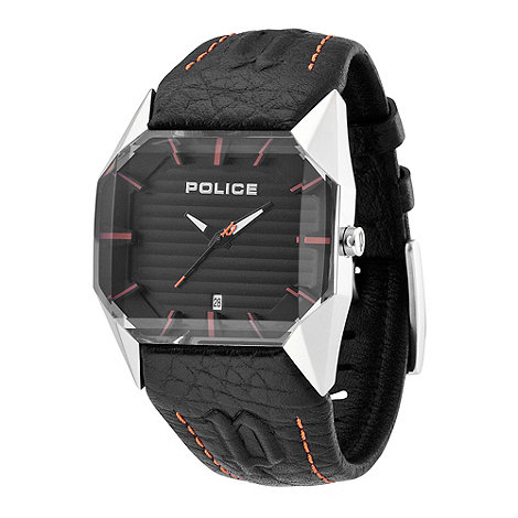 Police - Men+s black dial vector orange detail strap watch