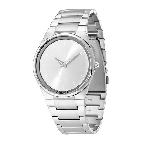 Police - Men+s stainless steel horizon silver dial bracelet watch