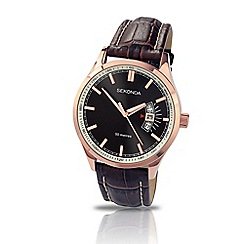 Sekonda - Gents brown leather strap watch