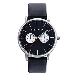 Ted Baker - Men's black leather multi dial watch