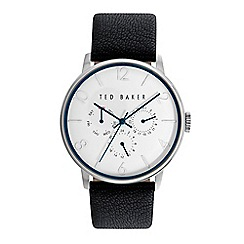Ted Baker - Men's black leather multi dial watch te10023491