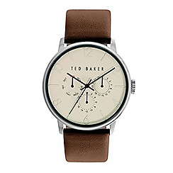 Ted Baker - Men's brown leather multi dial watch