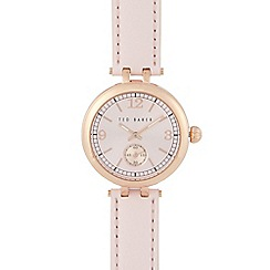 Ted Baker - Ladies pink leather round dial watch
