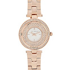 Ted Baker - Ladies rose gold crystal bezel analogue watch