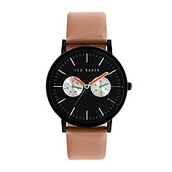 Ted Baker - Mens black dial and brown leather strap