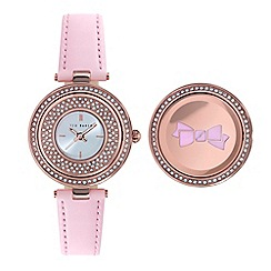 Ted Baker - Ladies silver dial and pink leather strap
