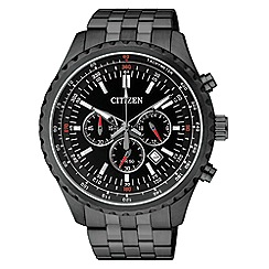 Citizen - Men's black stainless steel chronograph watch
