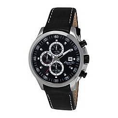 Kenneth Cole - Mens black dial black leather strap