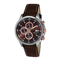 Kenneth Cole - Mens brown dial and brown leather strap