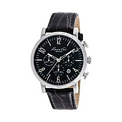 Kenneth Cole - Mens black dial and black leather strap